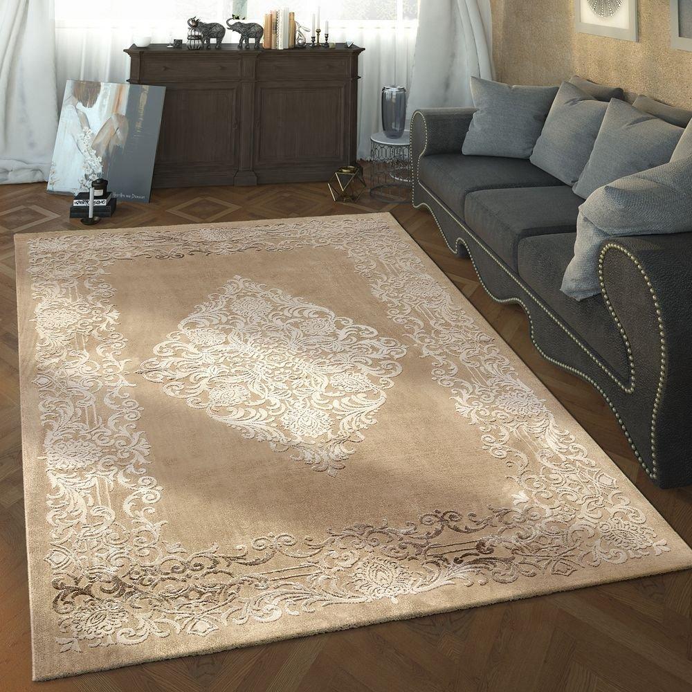 Paco Home Designer Wohnzimmer Teppich Hoch Tief Struktur Ornamente Vintage In Braun Beige, Grösse 120x170 cm