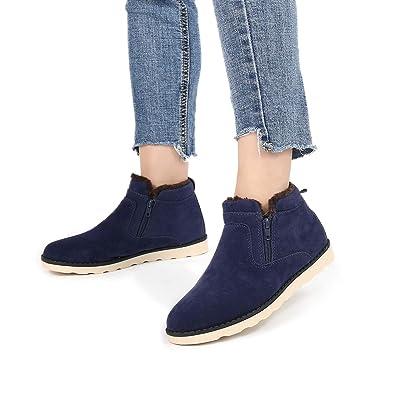 Gracosy Winter Stiefeletten Flach Gefüttert Kurzschaft Stiefel Seitlicher  Reißverschluss Suede Schuhe Unisex, Gr.- 8be9739f32