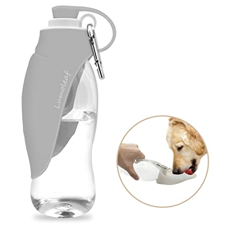 LumoLeaf Portable Pet Water Bottle, Reversible & Lightweight Water Dispenser for Dogs and Cats, Made of Food-Grade Silicone (20 Oz) - Grey