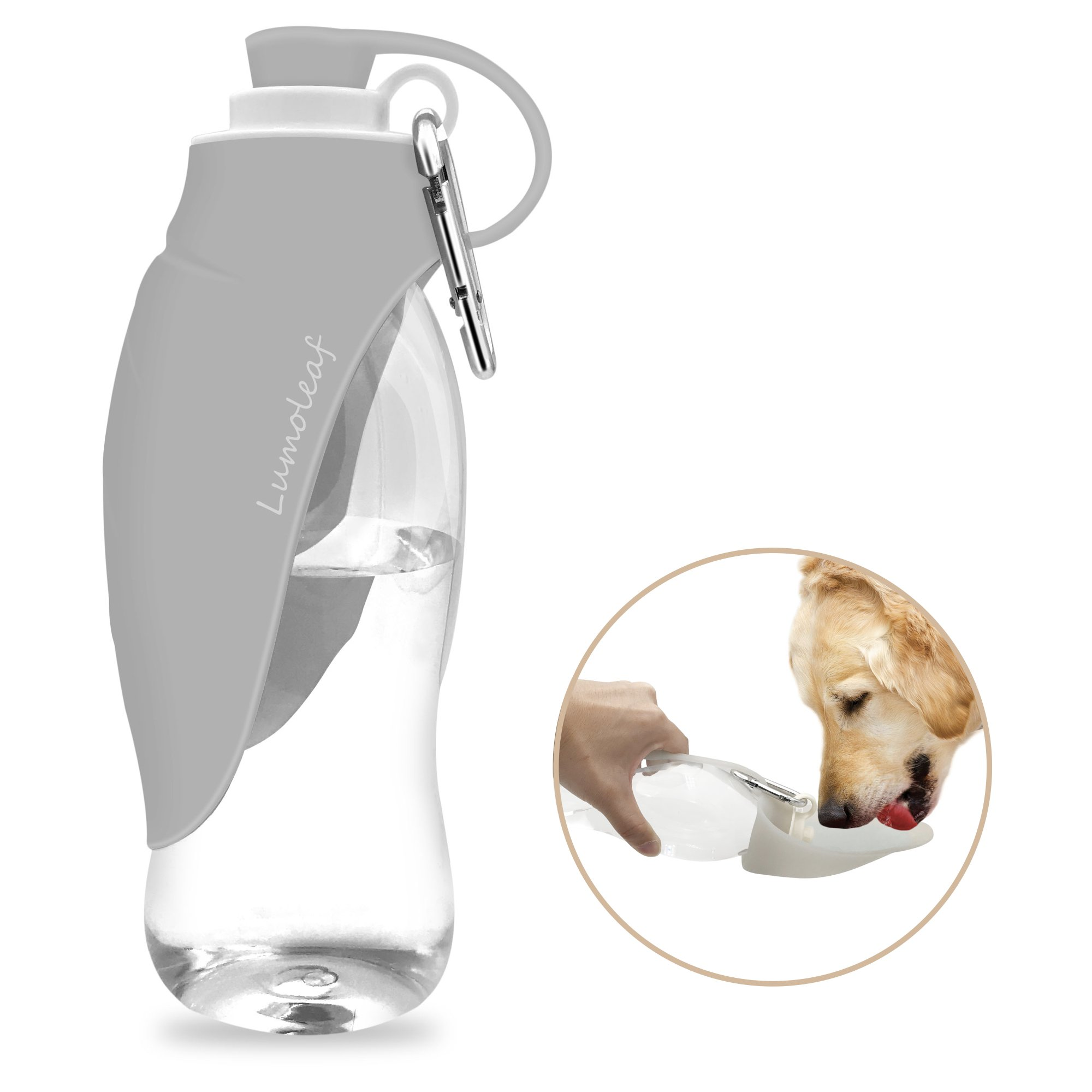 LumoLeaf Portable Pet Water Bottle by, Reversible & Lightweight Water Dispenser for Dogs and Cats, Made of Food-Grade Silicone (20 Oz) - Grey by LumoLeaf (Image #1)