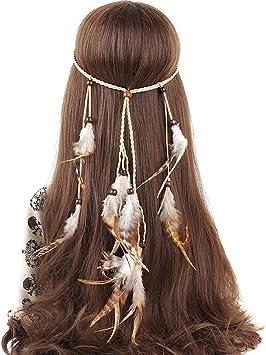 Mujer de pelo banda, Bohemien, pavo real, Hippie, plumas, perlas ...