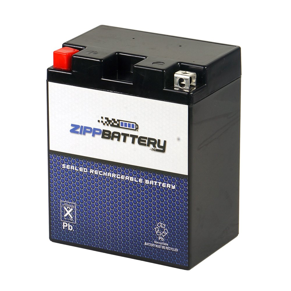 Rechargeable 14A-A2 Powersport Battery- Maintenance Free & Sealed- Replaces YTX14AH, UTX14AH=BS, PTX14AH-BS- Zipp Battery by Chrome Battery
