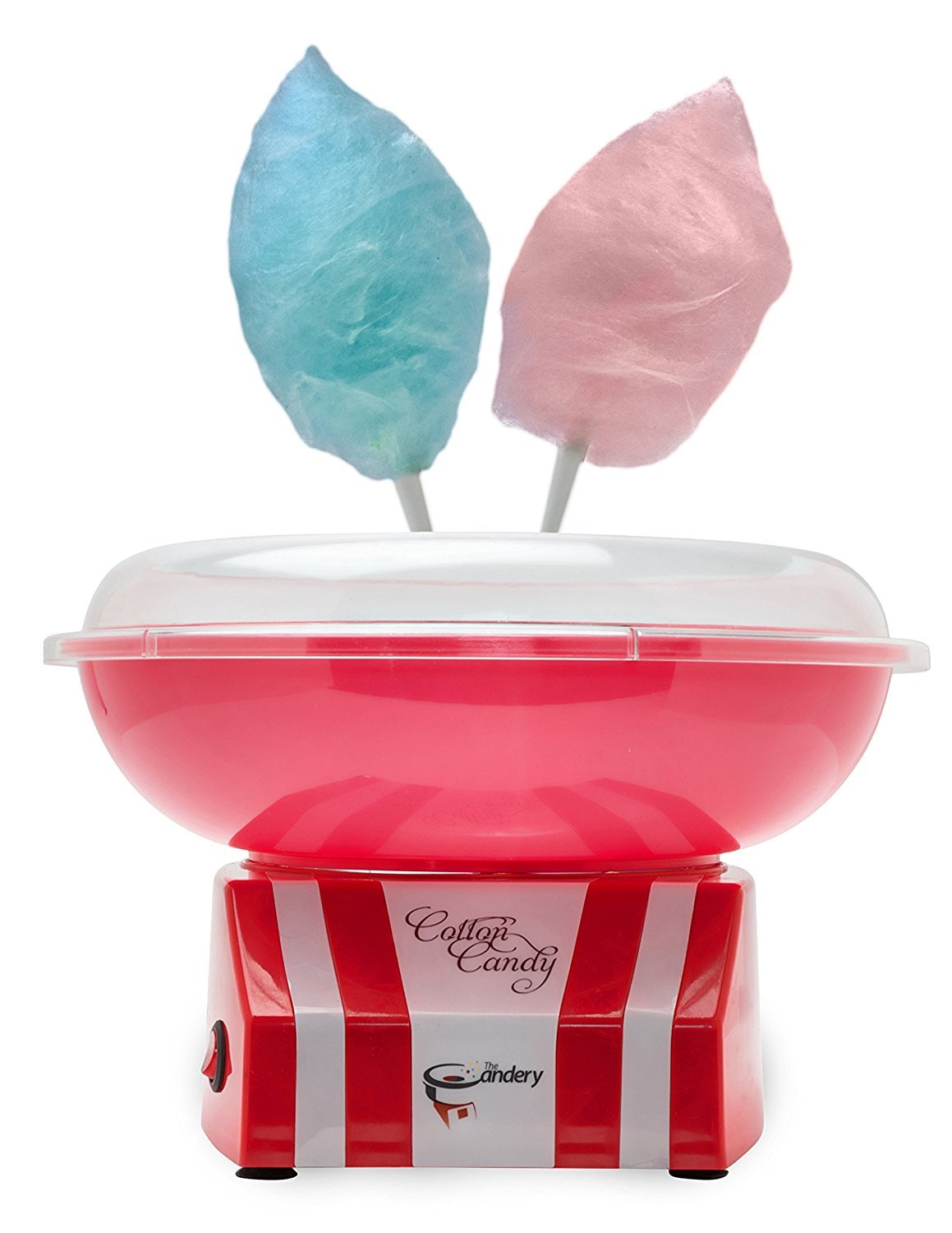 The Candery Cotton Candy Machine - Upgraded - Bright, Colorful Style- Makes Hard Candy, Sugar Free Candy, Sugar Floss, Homemade Sweets for Birthday Parties - Includes 10 Candy Cones & Scooper
