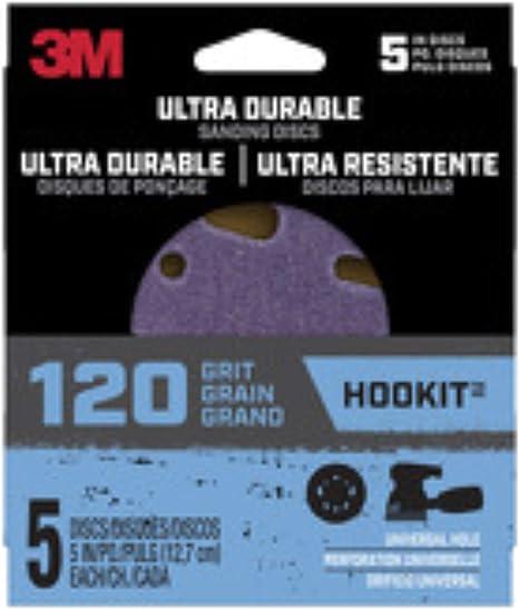 "3M Ultra Durable 5/"" SANDING DISC Ceramic Hook /& Loop 120 Grit 5 pk DISC5IN5PK120"