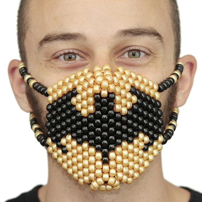 Kandi Gear Mascara Kandi de Simbolo de Batman Dorado, mascara de rave, mascara de