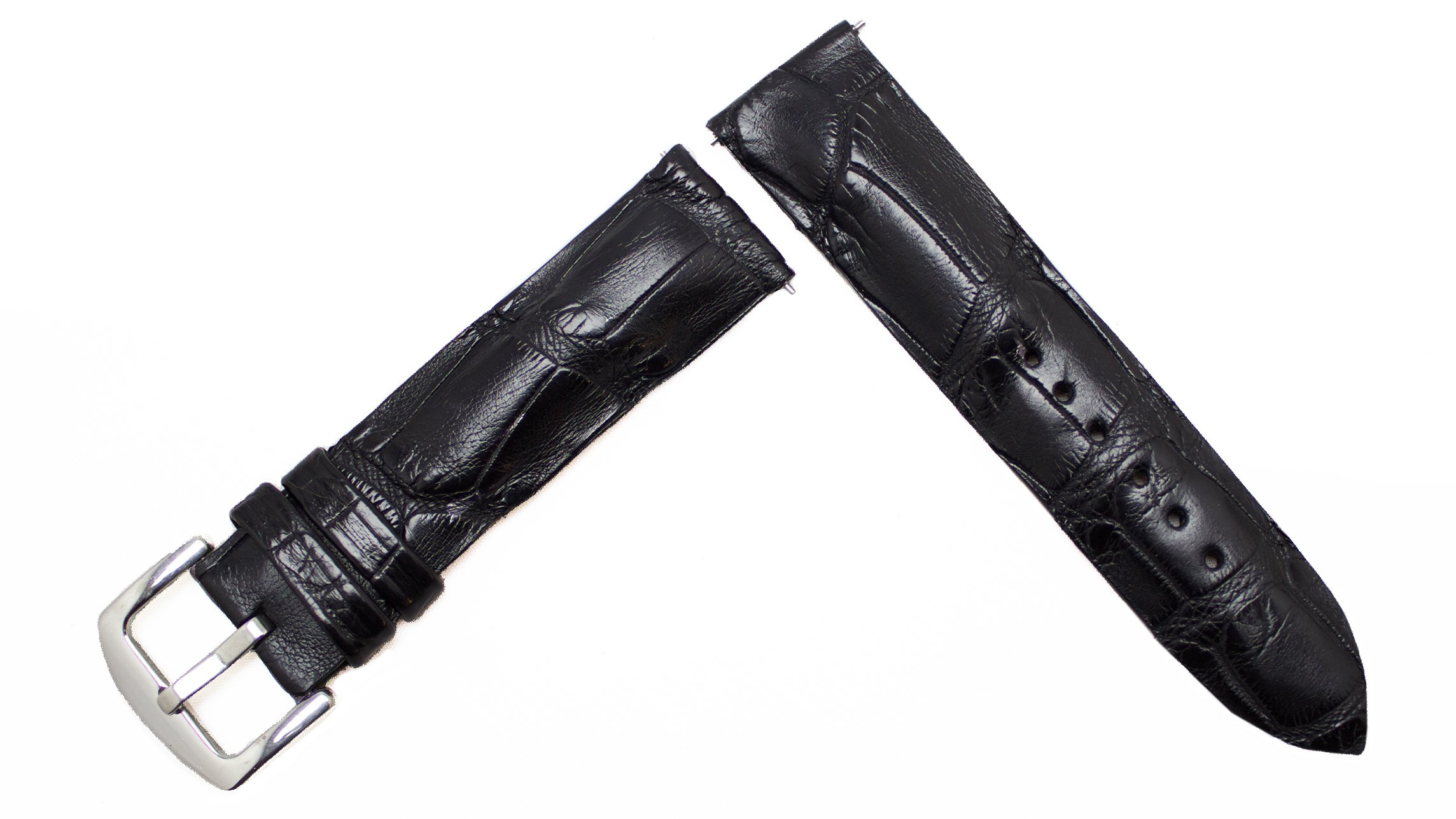 Black Matte Alligator Replacement Watch Strap Crocodile Watch Band Collection, by John Woodward (20mm)