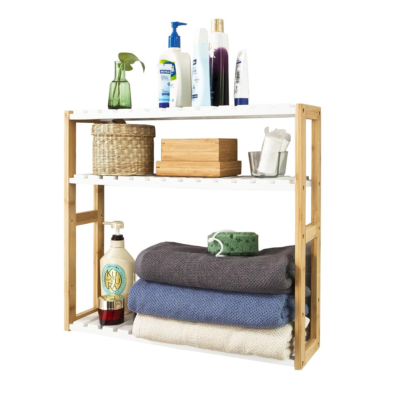 SoBuy® FRG28-WN,Estanterí a de pared, estanterí a de bañ o, librerí a, estanterí a de cocina de bambú , color: natural/blanco,ES Estantería de pared estantería de baño librería estantería de cocina de bambú