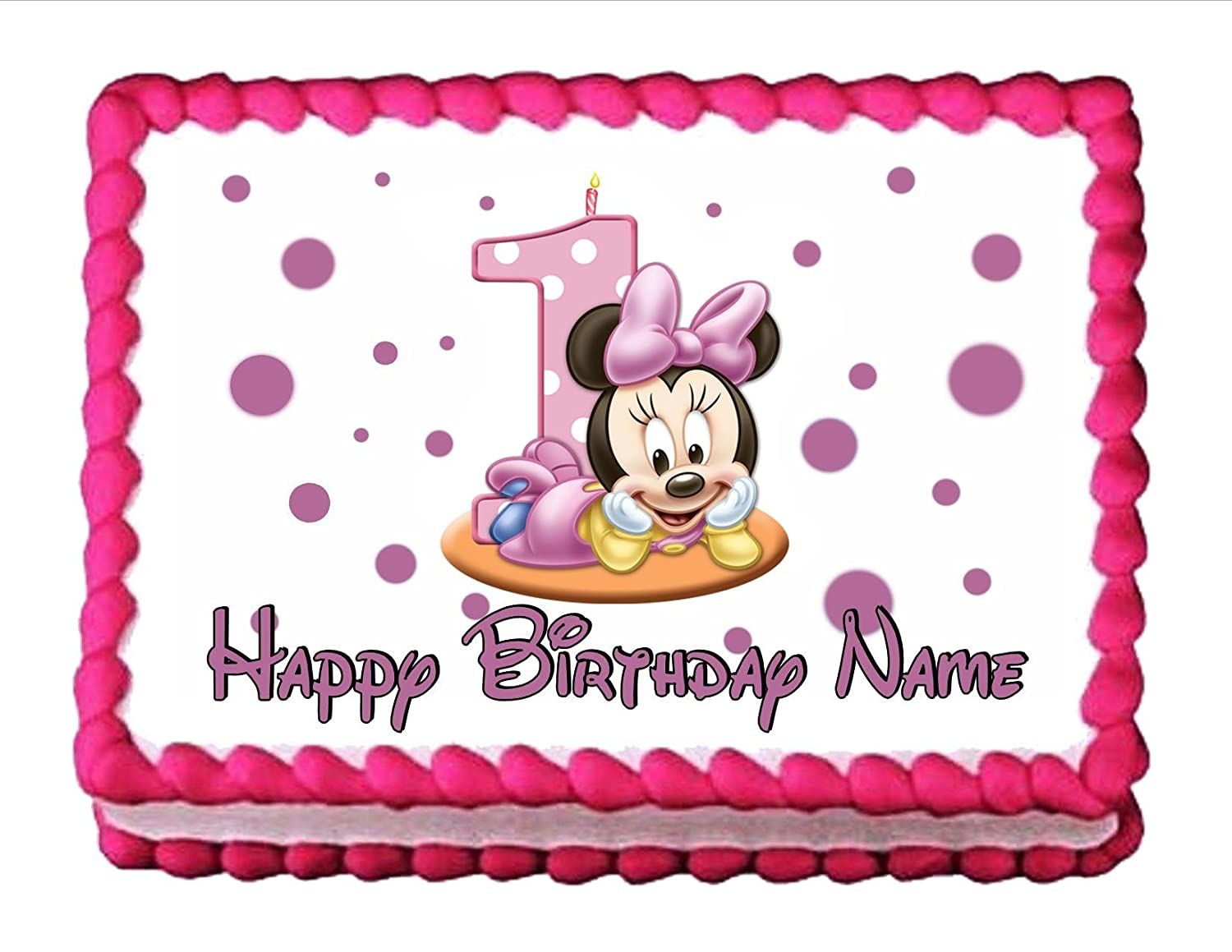 Amazoncom Edible Cake Topper Baby Minnie Mouse Babys 1st Birthday