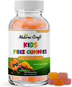 Kids Fiber Gummy Prebiotics Supplement - Soluble Fiber Gummies for Kids Constipation Relief Digestive Health and Leaky Gut Repair - Kids Fiber Gummies Immune System Booster Delicious Gummy Vitamins