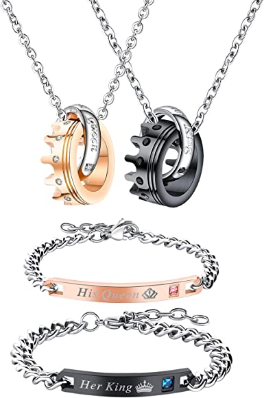 Couples Bracelets Stainless Steel Chain Queen Crown Matching Set 2Pcs