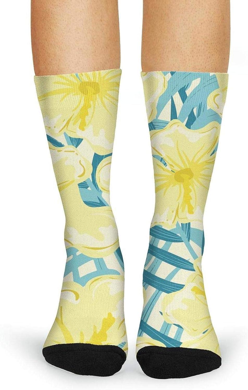 XIdan-die Womens Over-the-Calf Tube Socks tropical yellow hibiscus flowers plants Moisture Wicking Casual Socks
