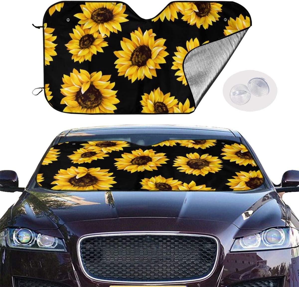 antfeagor Sunflowers Auto Windshield Sun Shade Car Front Window Sunshade-UV Protection Double Bubble Foil Jumbo Foldable Sunshade for Car Prevent Your Car from Sun Heat /& Glare Keep Vehicle Cool