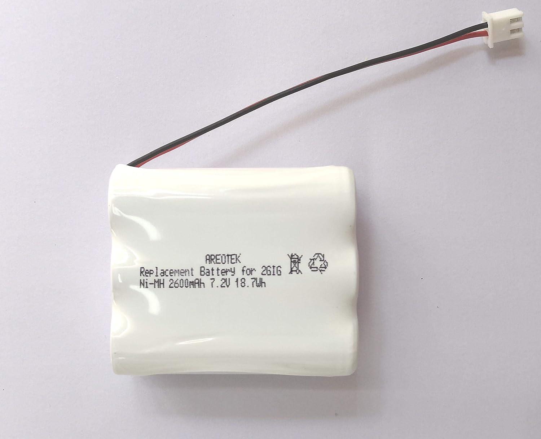 Areotek Ni-MH 2600mAh 7.2V Battery for 2GIG-BATT1 228844 BATT1X BATT2X, Fits 2GIG Go Control Panels Security Alarm System