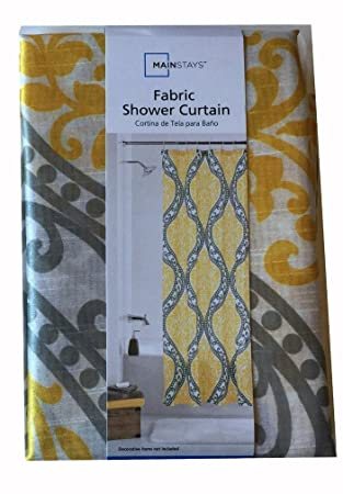 Exceptionnel Mainstays Yellow Damask Shower Curtain