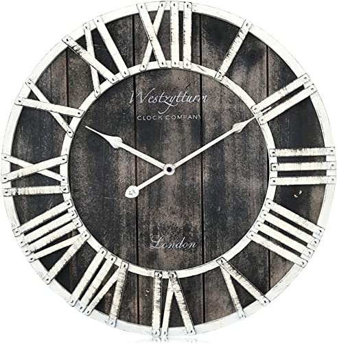 Westzytturm Rustic Farmhouse Wall Clock Wood Extra Large Decorative Roman Numeral 3D Retro Vintage Big Wall Clock