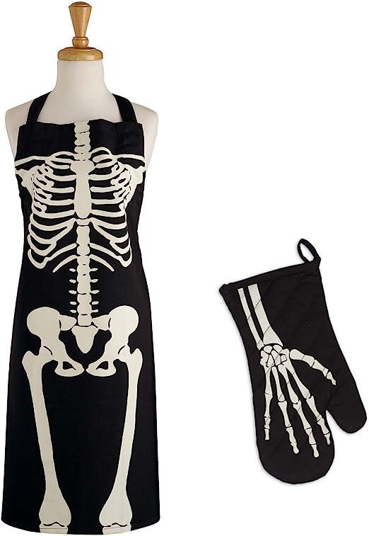 Creepy Bone Skeleton Spider Apron with Pockets