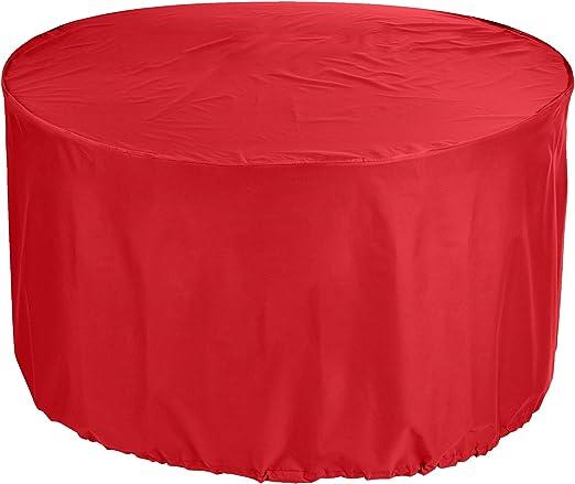 KaufPirat Premium Fundas para Mesa Redonda Ø 130x85 cm Cubierta Impermeable Funda para Mesa para Mobiliario de Exterior, Oxford Fundas para Proteger Muebles de Jardín Rojo: Amazon.es: Jardín