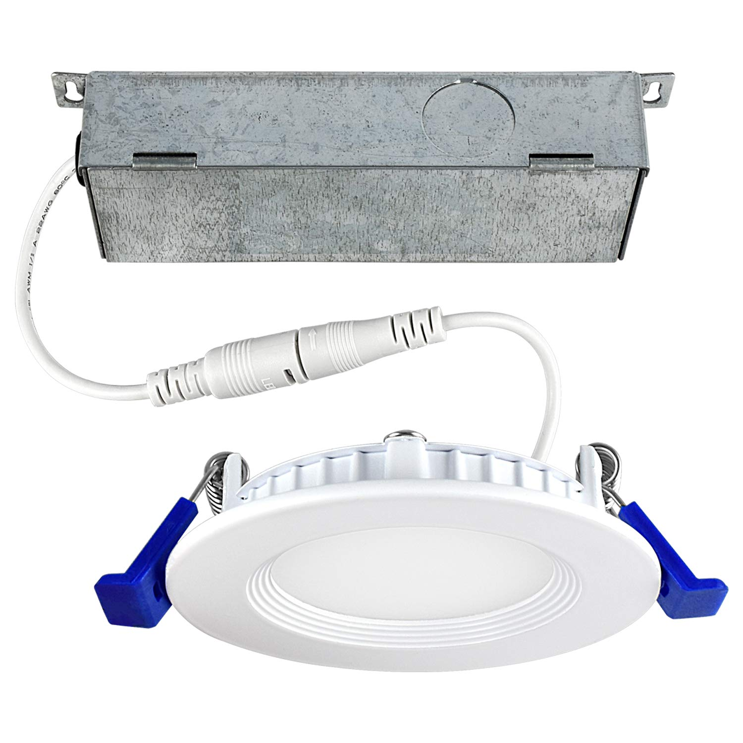 3 Inch Ultra Thin LED Recessed Ceiling Light Fixture, Luxrite, 7W, 5000K (Bright White), 450 Lumens, Dimmable, Low Profile Recessed Downlight, ETL & IC Rated - Perfect for Home Lighting and Remodel