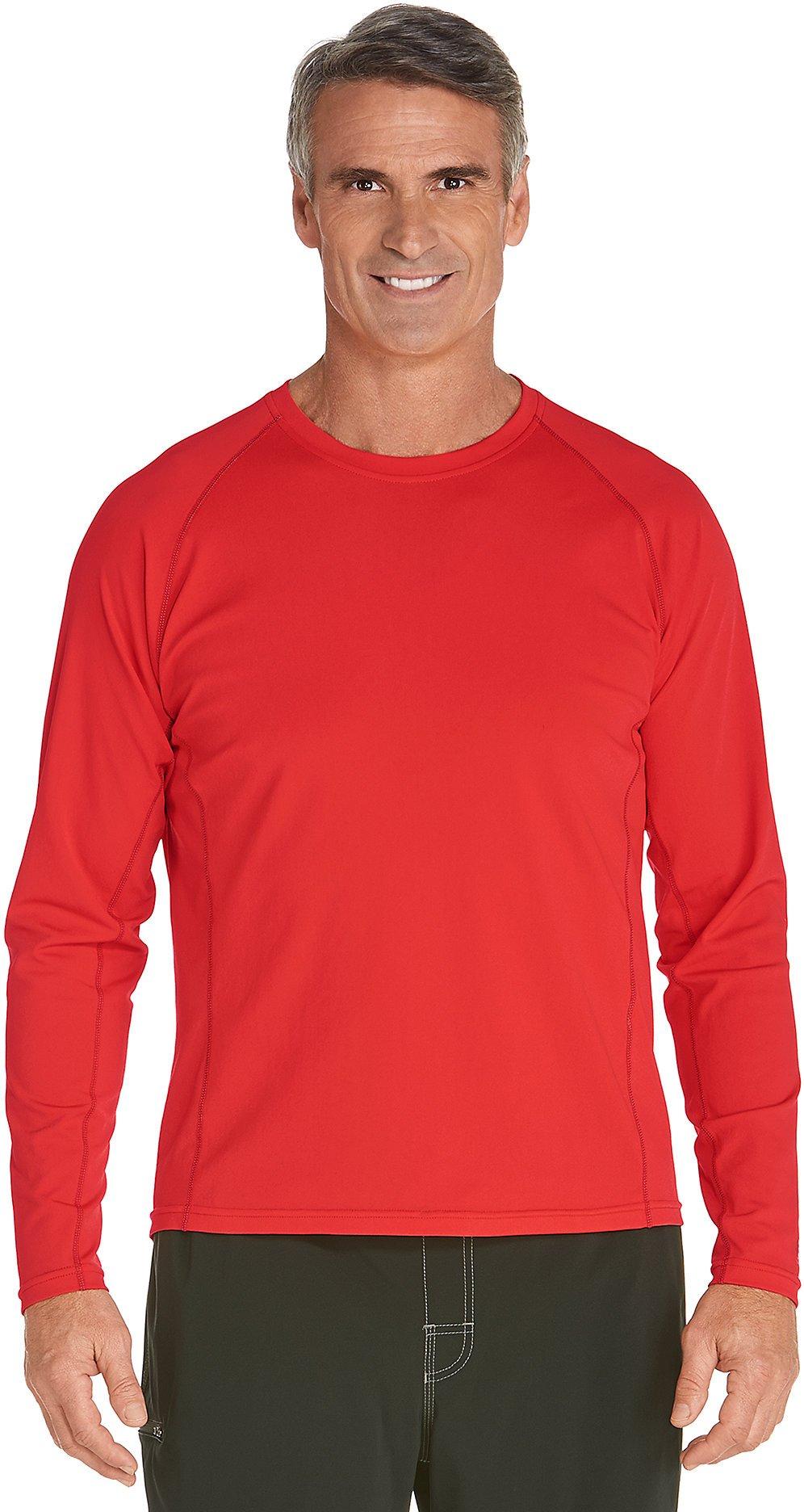 Coolibar UPF 50+ Men's Long Sleeve High Tide Swim Shirt - Sun Protective (Large- Tropical Red)
