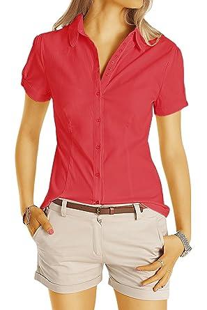 4a24cf12b579 bestyledberlin Damen Basic Blusen, Taillierte Kurzarm Damenbluse, Elegante  Stretch Hemden V-Ausschnitt t45z  Amazon.de  Bekleidung