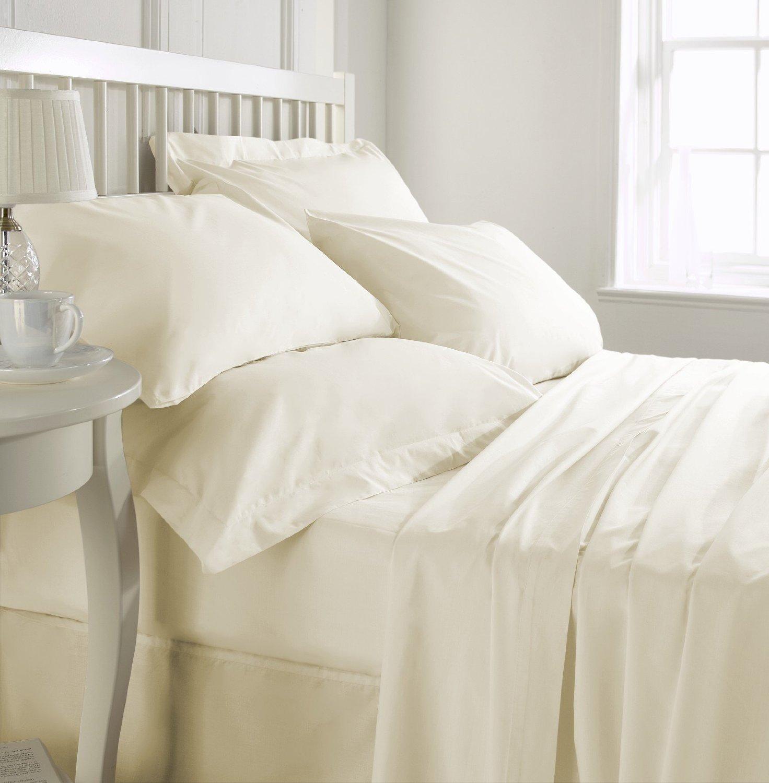 Hachette] SUPER KING SIZE crema 100% sábanas de algodón egipcio IN ...