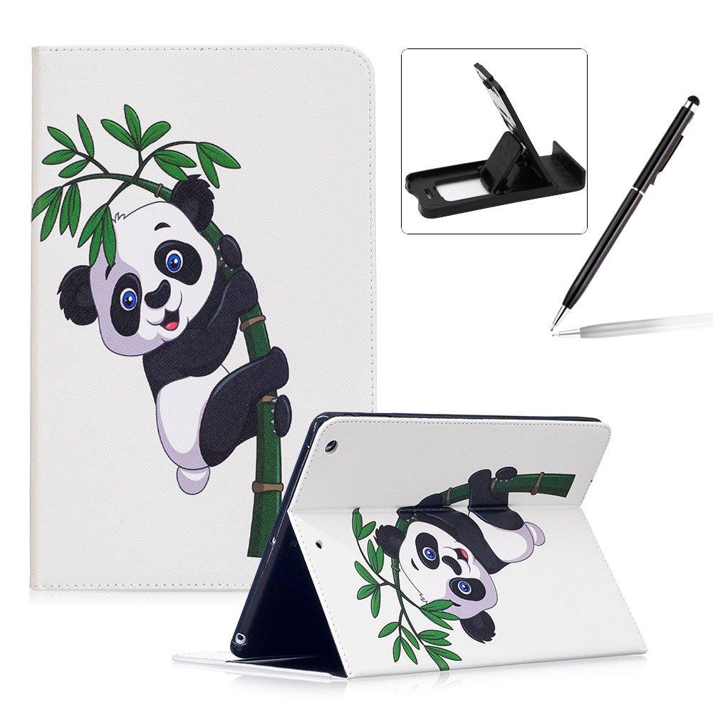 Herzzer Coque en PU Cuir pour Apple iPad Air / iPad 5 Tablette Housse Etui Flip Case ave Stand Fonction Cartes de Crédit Slot Hull Wallet Cover Anti Scratch Soft Silicone Inner Etui de Protection -- Motif Bambou Panda