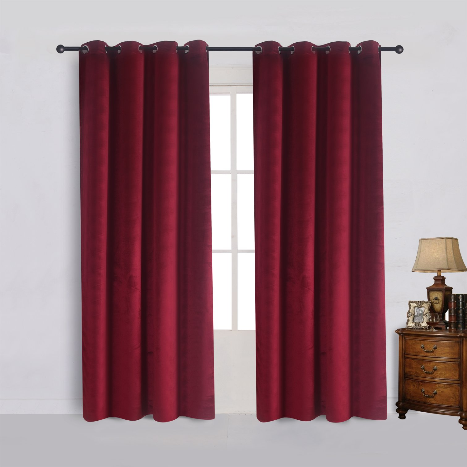 Cherry Home Set of 2 Velvet Room Darkening Blackout Curtain Panel Drapes Drapery 52 Inch Wide By 96 Inch Length with Grommet, Burgundy(2 panels)Theater  Bedroom  Living Room  Hotel