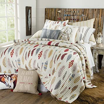 Amazon.com: Be Bold, Be Brave, Colorful Southwest Feather and ... : feather quilt - Adamdwight.com