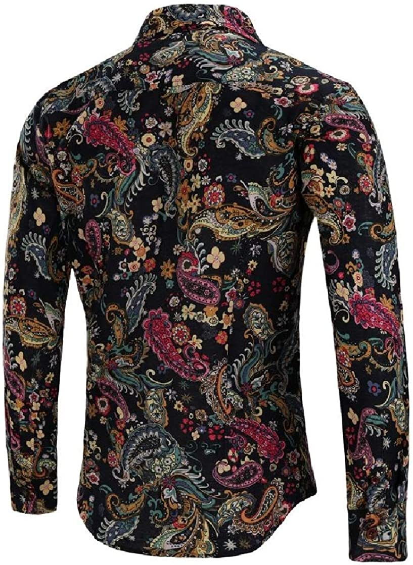 Etecredpow Mens Long Sleeve Print Ethnic Style Turn Down Button Down Shirts