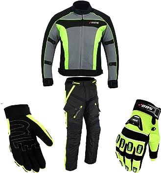 L, Neon Gr/ün Hosen Motorradkombi Biker Motorrad Textil Kombi wasserdichte Jacke