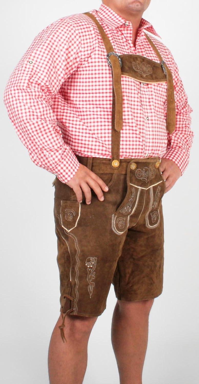 Trachten Lederhose Leder Hose Kurzhose für Oktoberfest braun LD1