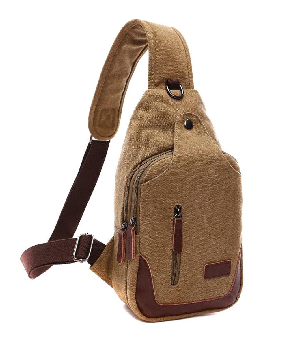 MiCoolker Fashion Retro Canvas Bag With Music Headphones Line Hole Chest Bag Multi-function Shoulder Messenger Bag
