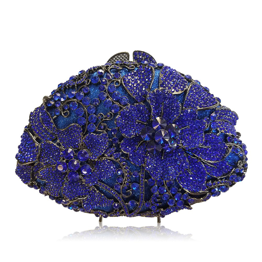 Flada Women's Luxurious Rhinestones Flabellate Evening Clutch Hollow Flower Wedding Handbag Blue