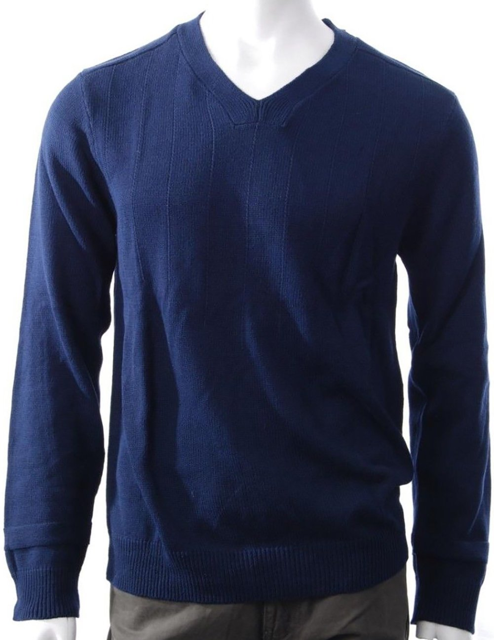 Dylan George Men's V-Neck 100% Cotton Knitted Sweater Long Sleeve Navy- Large