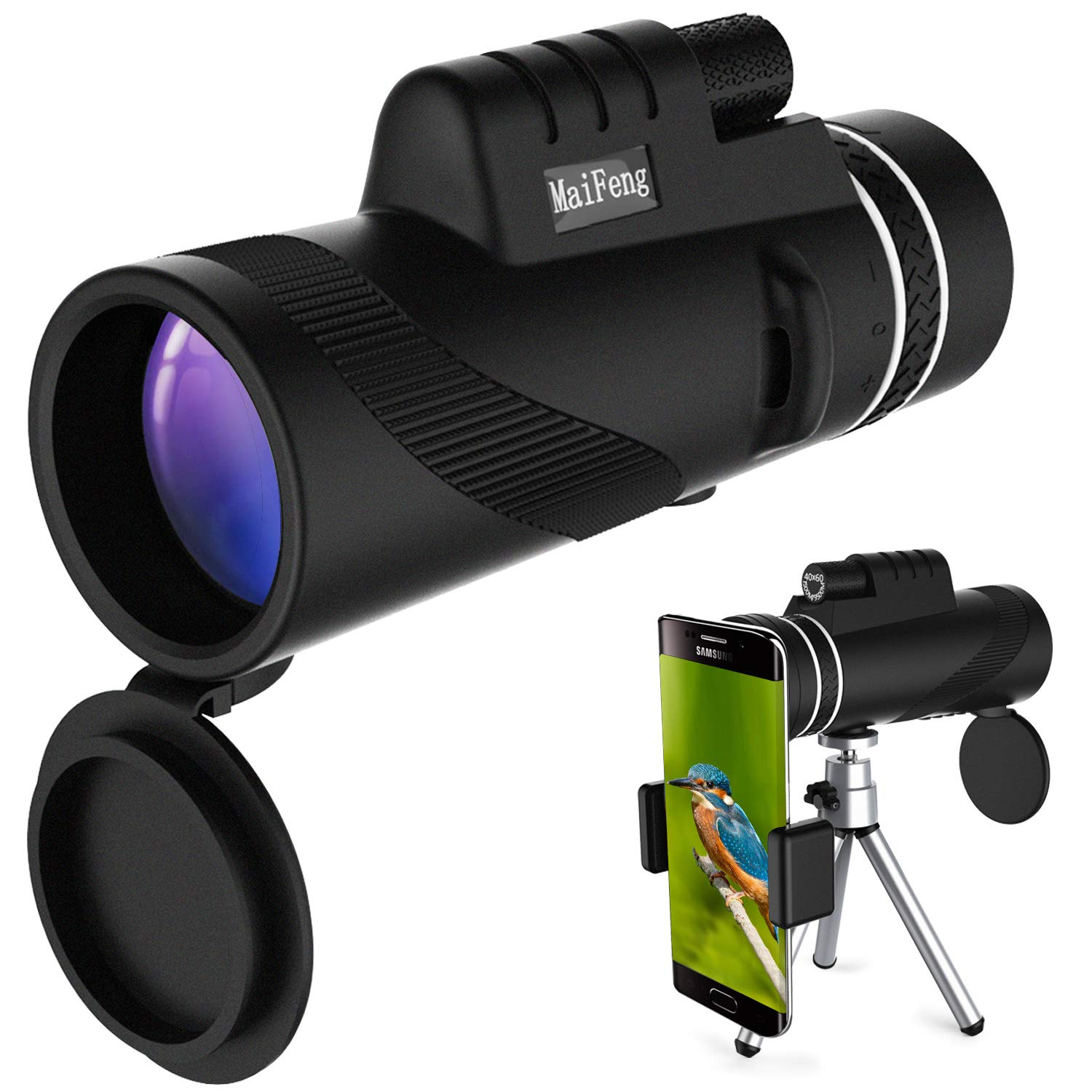 YOULERBU 40x60 Monocular Telescope, High Power BAK4 Prism FMC Lens Waterproof Scope with Quick Smartphone Holder and Tripod Camera for Bird Watching, Hunting, Camping, Hiking, Outdoor, Surveillance