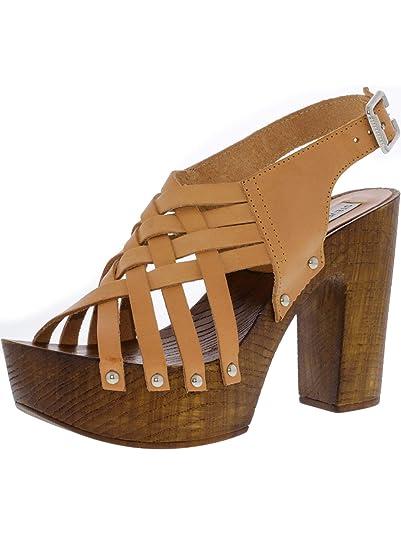 abb43e91fb4 Steve Madden Women s Tina Leather Cognac Sandal - 10M