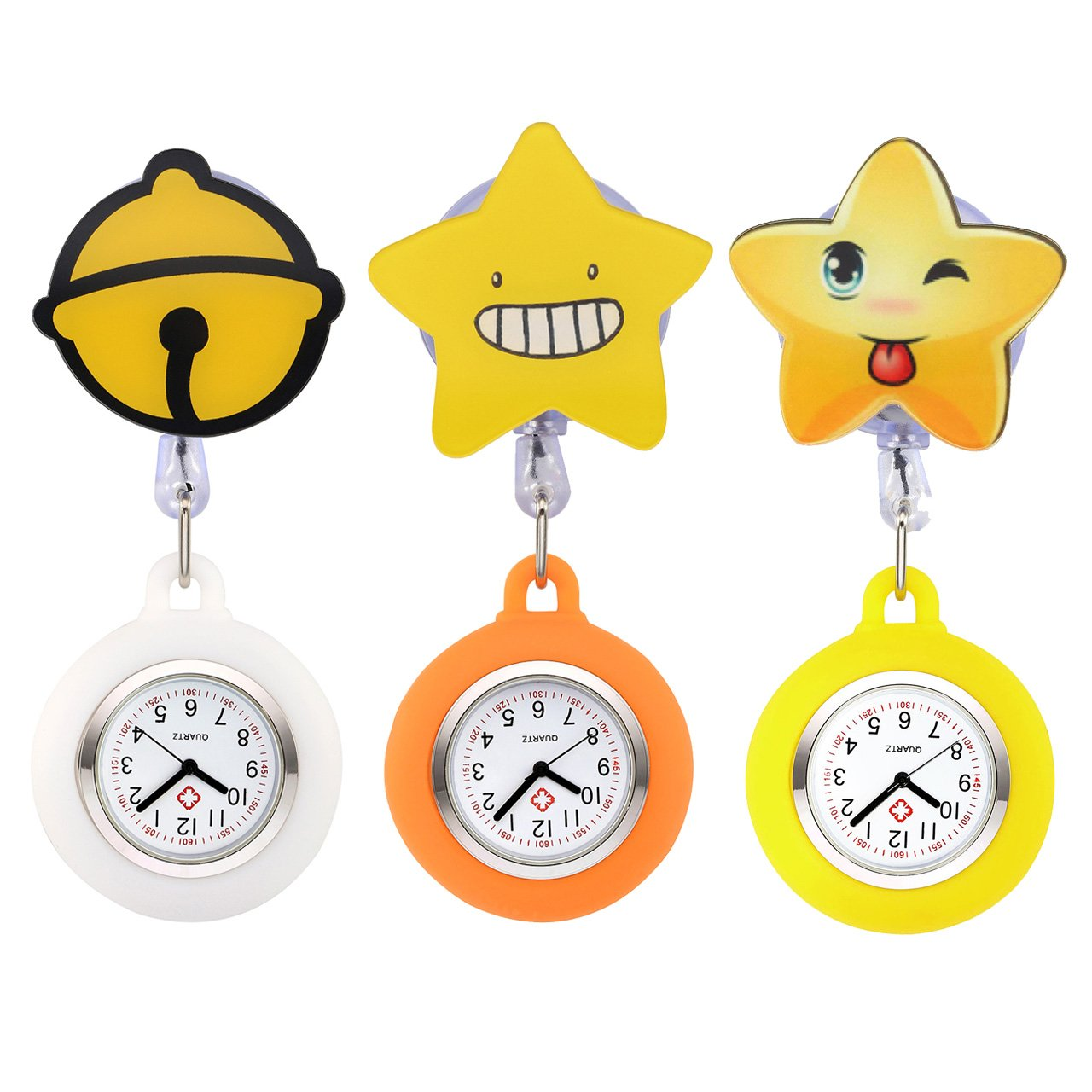 Top Plaza 3 Pcs Girls' Kid's Cute Lovely Cartoon Pattern Silicone Clip on Fob Brooch Hanging Easy Pull Clasp Stretch Analog Quartz Pocket Nurse Watches #2 by Top Plaza (Image #1)
