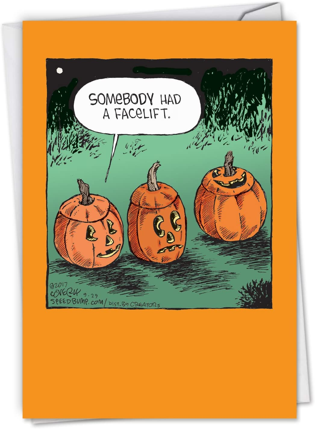 Amazon Com Nobleworks Happy Halloween Card Funny Fun Cartoon Humor Spooky Greeting Notecard With Envelope Pumpkin Facelift C6235hwg Office Products