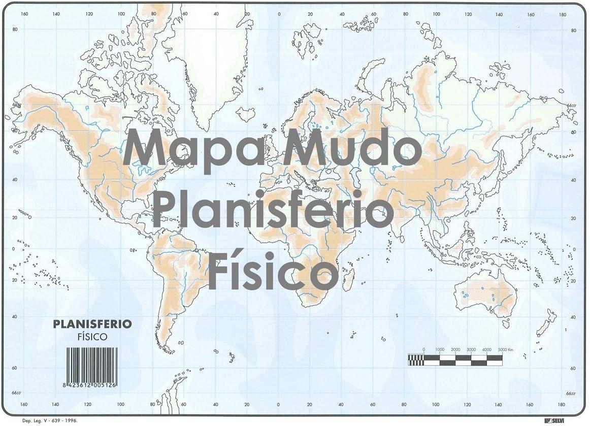 Mapa Mudo SELVI Color Din-A4 /África F/ísico Caja x50