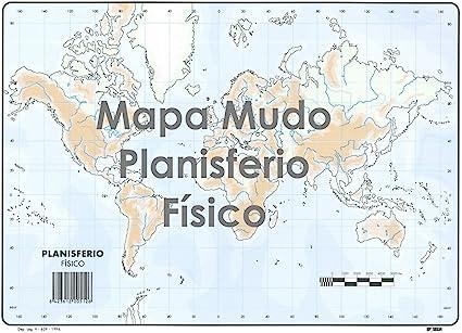 Mapa Mudo SELVI Color Din-A4 Planisferio Físico, Caja x50: Amazon.es: Oficina y papelería