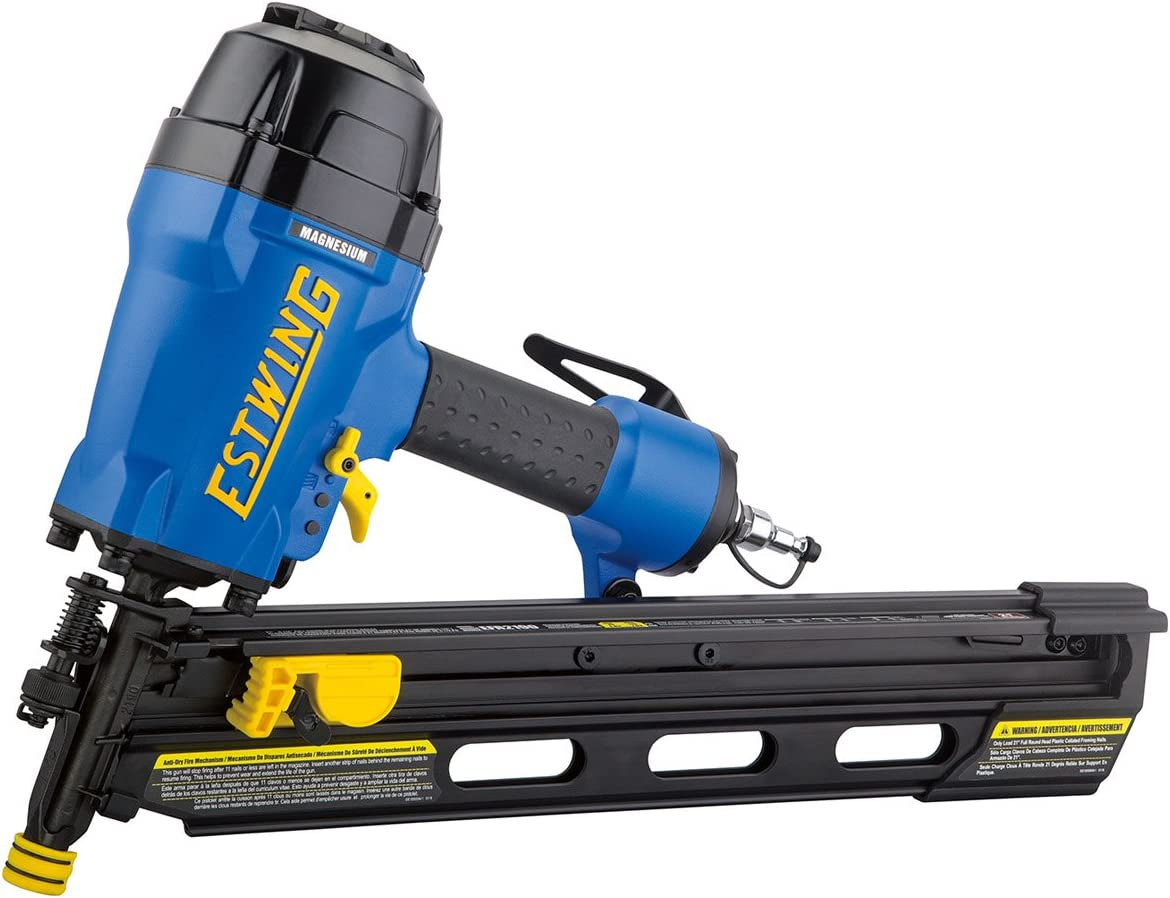 Estwing EFR2190 Pneumatic 21 Degree 3-1 2 Full Round Head Framing Nailer Ergonomic and Lightweight Nail Gun with Depth Adjust, Select Fire Trigger, and Removeable No Mar Tip