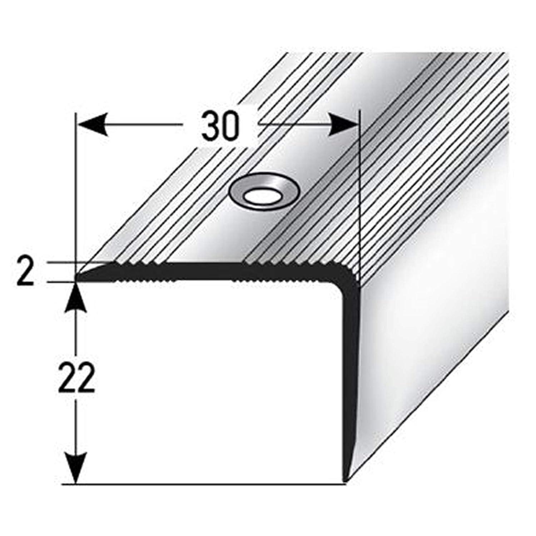 Treppenstufen-Profil aus Alu 170cm Treppenkanten-Profil acerto 51092 Aluminium Treppenwinkel-Profil Gelochtes Stufenkanten-Profil 22x30mm ✓ Rutschhemmend ✓ Robust ✓ Leichte Montage