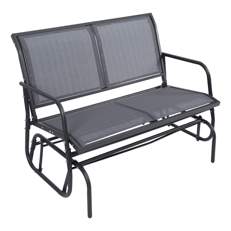 YOURLITE 2 Person Loveseat Outdoor Swing Glider Chair, Garden Rocking Seating, Dark Grey by YOURLITE