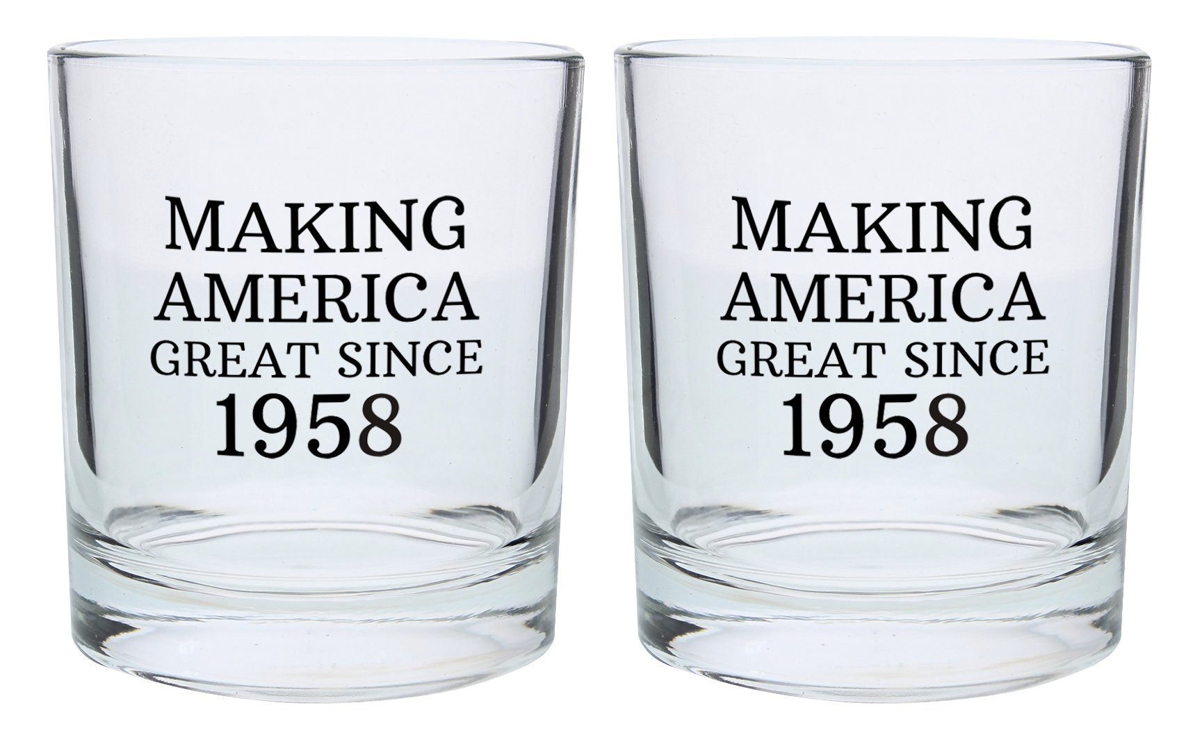 60th Birthday Gifts for Dad Mom Making America Great Since 1958 Republican Conservative 60th Birthday Party Supplies Gift Lowball Glasses 2-Pack Round Lowball Tumbler Set Black