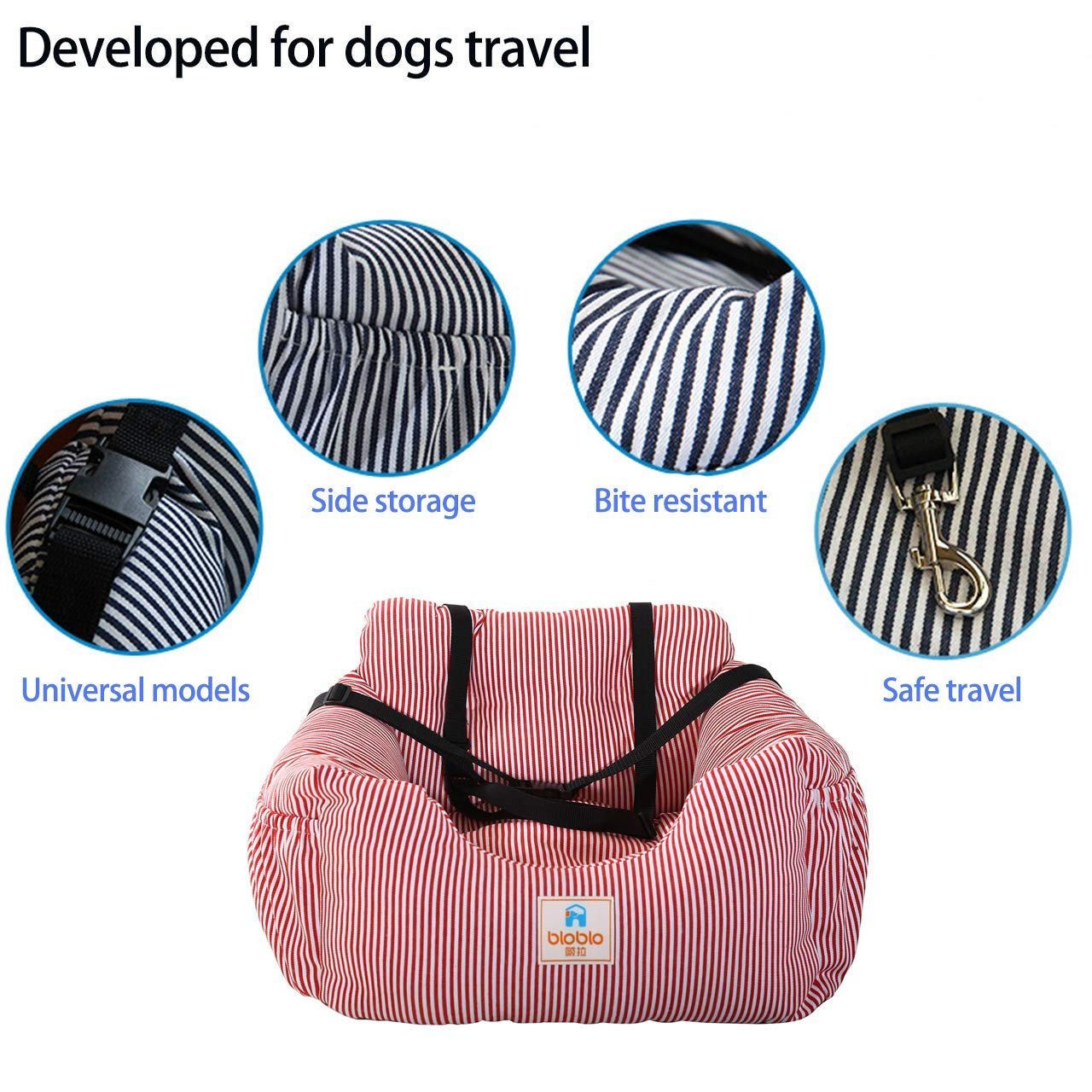 Navy Acopsh Dog Car Seat Travel Carrier Pet Travel Safety Car Seat Pet Booster Seats Dog Bed for Car with Storage Pocket