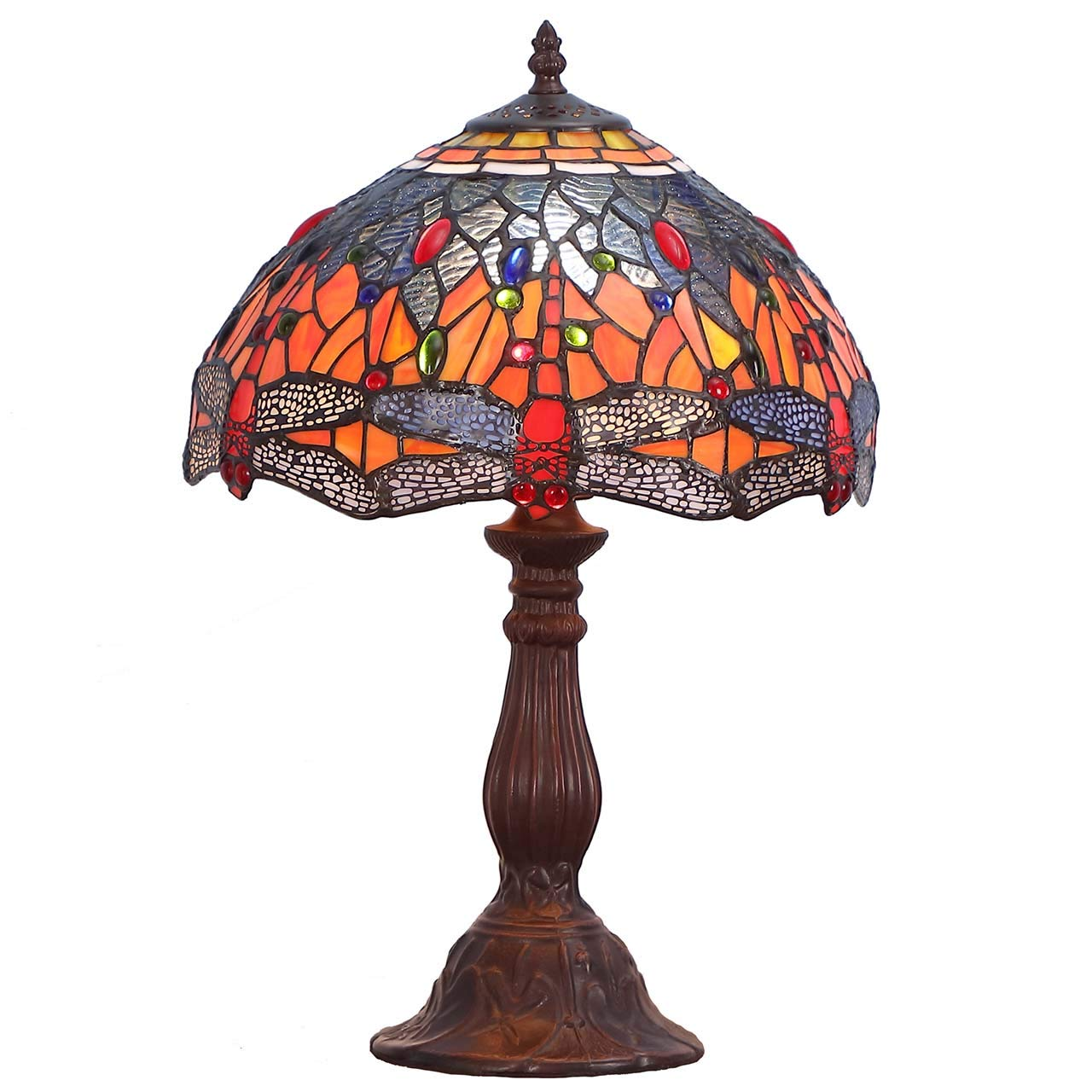 Bieye L10689 Dragonfly Tiffany Style Stained Glass Table Lamp with 12 Inch Wide 6 Dragonflies on Lampshade and Metal Base, Orange Blue, 12 W x 18 H