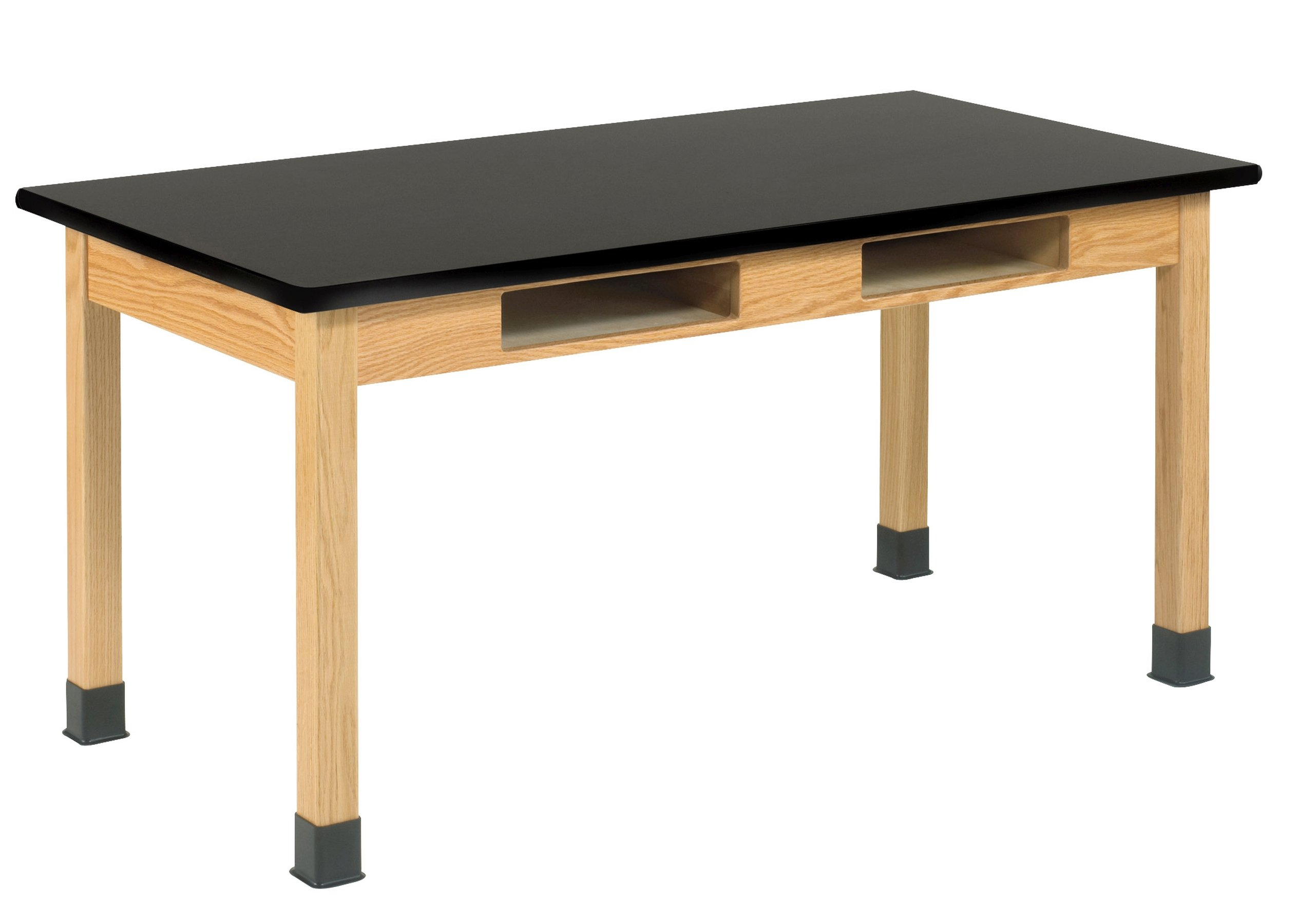 Diversified Woodcrafts C7201K30N Table - Book Compartments, Black Plastic Laminate Top, 24'' x 54'', 30'' Height, Black/Northwoods Oak by Diversified Woodcrafts (Image #1)