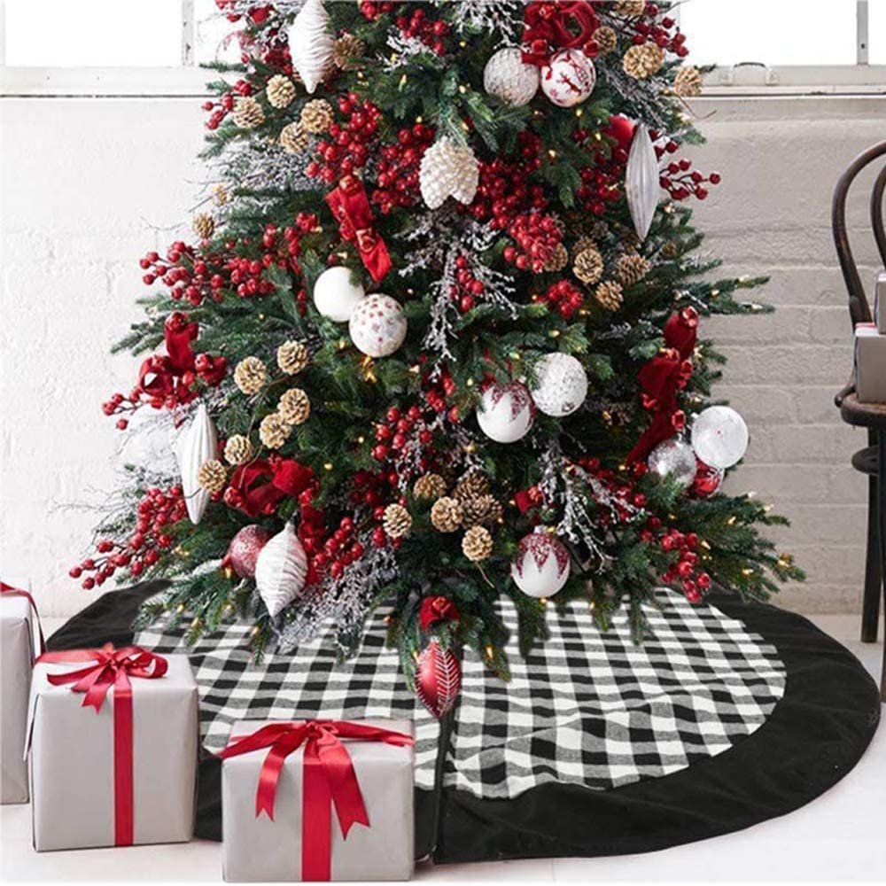 Amazon Com Medoore Black And White Buffalo Plaid Check Christmas Tree Skirt 48 Inches Country Xmas Tree Decorations Tree Skirts Double Layers Holiday Ornaments Home Kitchen