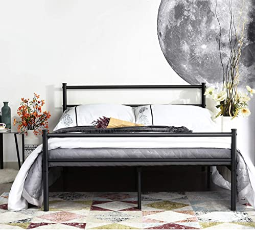 Aingoo Double Bed Frame Metal Square Tube 4ft 6 Bed Frame Solid Bedstead for Adults Teenager Kids in Black