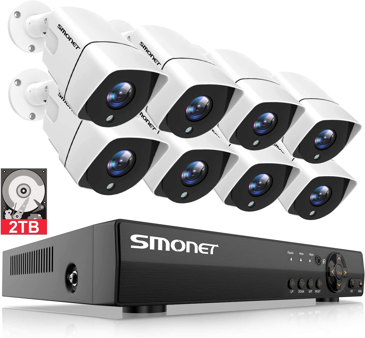 5MP Home Security Camera Systems,SMONET 8-Channel 5-in-1 DVR Indoor Outdoor Camera System 2TB Hard Drive ,8pcs 1080P 2MP Wired Surveillance Cameras,Night Vision,Free APP,Easy Remote View,P2P DVR Kits